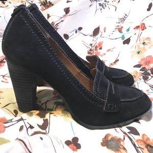 Calvin Klein Black Suede Penny Loafer Heels